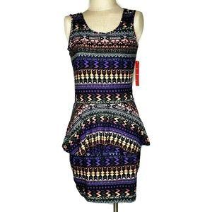Hot Kiss Peplum Dress Aztec Stretch Size XL